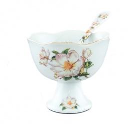 Купить Креманка с ложкой Elan Gallery «Белый шиповник»