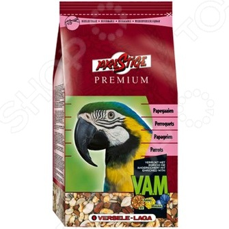 Корм для попугаев крупных размеров Versele-Laga Prestige Premium VAMКорма. Лакомства для птиц<br>Корм для попугаев крупных размеров Versele-Laga Prestige Premium VAM полноценный зерновой корм. Изготовлен из семян, которыми попугаи питаются в дикой природе. Смесь обогащена дополнительными питательными веществами, которые необходимы крупным особям. Гранулы Maxi VAM содержат специальный ингредиент флорастимул , который положительно влияет на работу кишечника. Состав этого корма был тщательно разработан учеными научно-исследовательской группы Лоро Парка. Особенности корма Versele-Laga Prestige Premium VAM:  Содержит полезные витамины и минеральные вещества;  Не содержит искусственные добавки, красители, консерванты, усилители вкуса;  Произведено без использования ингредиентов, содержащих ГМО. Состав: семена подсолнечника полосатого 13,5 , сафлор 12 , гречиха 9 , рис-сырец 9 , остроконечный овес 8 , канареечное семя 7 , белые семена подсолнечника 5,5 , семена конопли 4 , орехи сосны 3 , семена тыквы очищенные 3 , желтое просо 3 , красное просо 2 , дари 2 , мелкий зеленый горох 2 , кукуруза 2 , воздушная кукуруза 1 , воздушная пшеница 1 , шиповник 1 , семена сосны 1 , красный перец 1 , макси гранулы ВАМ 8 , ракушки устриц 2 . Пищевая ценность: сырые белки 14 , сырые жиры 14,6 , сырая клетчатка 16 , сырая зола 5,5 , кальций 0,93 , фосфор 0,36 , Витамин А 8.000 МЕ кг., Витамин D3 1.600 МЕ кг., Витамин E 19 мг кг.<br>