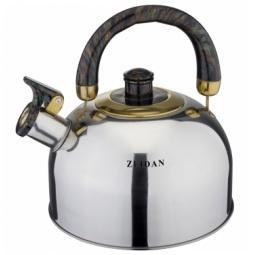 фото Чайник со свистком Zeidan Z-4117. Цвет: серебристый, черный