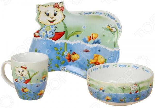 Набор посуды для детей Rosenberg 8773Посуда для детей<br>Набор посуды для детей Rosenberg 8773 это симпатичный комплект посуды, который приведет вашего ребенка в восторг! Расцветка универсальна и может понравиться как мальчику, так и девочке. Комплект посуды включает себя тарелку для супа, тарелку для второго и милую чашку с удобной ручкой для детской руки. Чашка рассчитана на 180 мл, вы сможете использовать ее как для чая, так и для молока или небольшой порции бульона. Не секрет, что дети очень любят свои собственные вещи, а что может быть лучше собственного комплекта посуды С этим набором ваш ребенок будет с удовольствием есть даже не любимые блюда.<br>