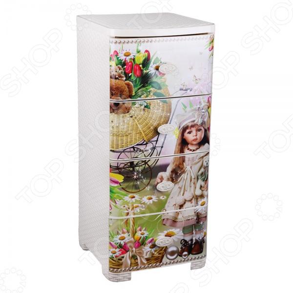 Комод 4-х секционный плетеный Альтернатива «Игрушки для девочек»