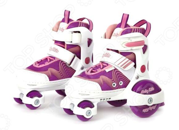 Роликовые коньки-квады Moby Kids «Линии»Роликовые коньки для детей<br>Катание на роликах это не только весело, но и полезно для здоровья. По силе оздоровительного эффекта оно приравнивается к бегу и езде на велосипеде, способствует укреплению мышщ и повышению выносливости дыхательной и сердечно-сосудистой систем. Кроме того, ролики это еще и отличный способ быстро сжечь лишние калории. Роликовые коньки-квады Moby Kids Линии отличный выбор для любителей активного образа жизни. Модель выполнена в соответствии с анатомическими особенностями ноги, практична и удобна в использовании. К основным преимуществам роликов можно отнести:  компенсацию роста ноги на 4 размера;  петлю для переноски;  наличие заднего тормоза;  двухступенчатую фиксацию ноги клипса Autolock и ремень на липучке ;  удобный раздвижной механизм;  мягкие ботинки с усилением в носочной и пяточной части;  поддержку голеностопа.<br>
