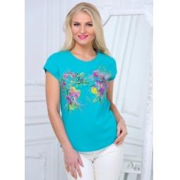 фото Футболка женская BeGood SS15-UER-LTS-881. Цвет: бирюзовый. Размер одежды: 46