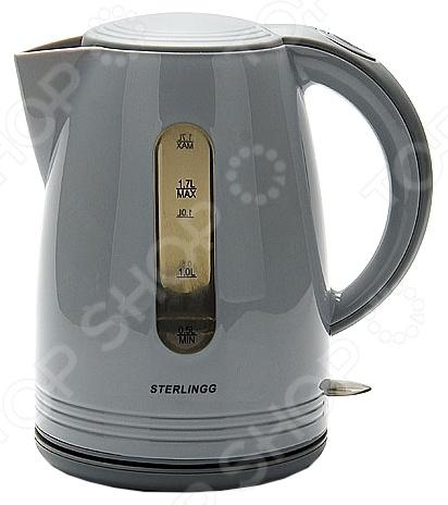 Чайник Sterlingg 10794Чайники электрические<br>Удобный и простой в использовании чайник Sterlingg 10794 изготовлен из термостойкого пластика. Благодаря мощности в 1850-2200 Вт и нагревательному элементу скрытого типа, быстро вскипятит воду объемом до 1,7 литра. Модель оснащена индикатором включения выключения и шкалой уровня воды. Цоколь с центральным контактом позволяет поворачивать прибор на 360 . В целях безопасности имеются функции блокировки включения без воды, автоматического отключения при закипании и защита от перегрева. Благодаря стильному дизайну, чайник Sterlingg 10794 впишется в любую современную кухню.<br>