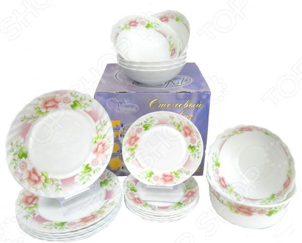 Сервиз столовый Miolla «Мария» W-19LНаборы посуды для сервировки<br>Столовый сервиз представляет собой настоящее украшение и каждый ваш обед будет незабываемым. Вне зависимости от того, что вы собираетесь приготовить, блюдо будет в несколько раз вкуснее за счёт красивой подачи. Красота в каждый дом! Сервиз столовый Miolla Мария W-19L это сочетание качества и стильного дизайна. Он станет прекрасным дополнением к комплекту ваших кухонных принадлежностей и подойдет для сервировки как обеденного, так и праздничного стола. Посуда выполнена из высококачественной стеклокерамики и декорирована оригинальным цветочным рисунком. Сервиз рассчитан на шесть персон:  тарелка десертная 18 см - 6 шт,  тарелка обеденная 23 см - 6 шт,  тарелка суповая 18 см - 6 шт,  салатник 19 см - 1 шт.  После использования вы можете очистить тарелки в посудомоечной машине или традиционным способом. Продукция компании Miolla отличается особым дизайном и долговечностью своих изделий. Производитель гарантирует качество и оригинальность, которые не останутся незамеченными вашими гостями. Компания Miolla постоянно пополняет ассортимент своей продукции новыми изобретениями, которые помогут вам создать атмосферу комфорта и уюта, позволят получать удовольствие от приготовления каждого блюда, но при этом тратить меньше времени на приготовление!<br>