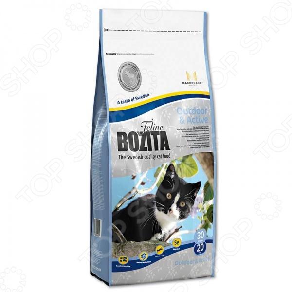 Корм сухой для активных кошек Bozita Outdoor &amp;amp; ActiveСухой корм<br>Корм сухой для активных кошек Bozita Outdoor Active полноценный и комплексный рацион для вашего питомца. Высокая калорийность и содержание всех необходимых питательных веществ, витаминов и антиоксидантов обеспечивают животного необходимым зарядом энергии и бодрости для поддержания активного образа жизни. Корм включает в себя только ингредиенты натурального происхождения, поэтому вкус и аромат питания понравится даже самым требовательным к еде кошкам. Сбалансированное сочетание белков, жиров и минералов делает корм максимально полезным для питомца. В состав также входят плоды шиповника, которые является натуральным источником природных антиоксидантов и витамина С. Ежедневное употребления данного рациона не только полезно для гармоничного развития мускулатуры животного, но и для зубов и ротовой полости, пищеварения и иммунной системы. Почему стоит выбрать сухой корм для активных кошек Bozita Outdoor Active для вашего питомца:  обеспечивает необходимый запас жизненных сил;  содержит до 93 мяса в каждом кусочке;  сбалансированный состав всех необходимых веществ;  комплекс MacroGard для укрепления иммунной системы кошки. Как перевести кошку на новый сухой корм для активных кошек Bozita Outdoor Active. Если вы решили начать кормить питомца кормом для активных кошек Bozita Outdoor Active это следует делать постепенно. Чтобы кошка быстрее усвоила новый вид корма, смешайте привычное для неё питание с хрустящими гранулами. В последующие 7 дней понемногу увеличивайте содержание сухого корма, до тех пор пока она полностью не перейдет на него. Норма кормления. Для нормального самочувствия вашей кошки следует придерживаться следующей нормы:       Вес животного кг     1     2     3     4     5     6     7     8       Количество корма в день г     17     34     50     67     84     101     117     134    Внимание! Всегда следите за тем, чтобы у вашей кошки была чистая и свежая вода в миске.<br>