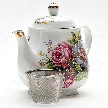Чайник заварочный Loraine «Розы» LR-21142Чайники заварочные<br>Чайник заварочный Loraine Розы 21142 изготовлен из керамики белого цвета и декорирован нежным цветочным рисунком. Красочность оформления и изящную форму оценят любители классики и утонченности. Сеточка гарантирует, что чаинки не попадут вам в чашку. Оригинальный и стильный дизайн чайника сделает его украшением любой кухни. Посуда и кухонные принадлежности компании Loraine это новое поколение кухонной посуды, которое создано ведущими мировыми специалистами с использованием самых современных технологий. Компания выпускает экологически чистые изделия с соблюдением международных норм безопасности, так что вы сможете использовать посуду и кухонные приборы в быту долгие годы без вреда для здоровья.<br>