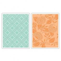фото Форма для эмбоссирования Sizzix Textured Impressions Цветения, круги, листья и ромбы