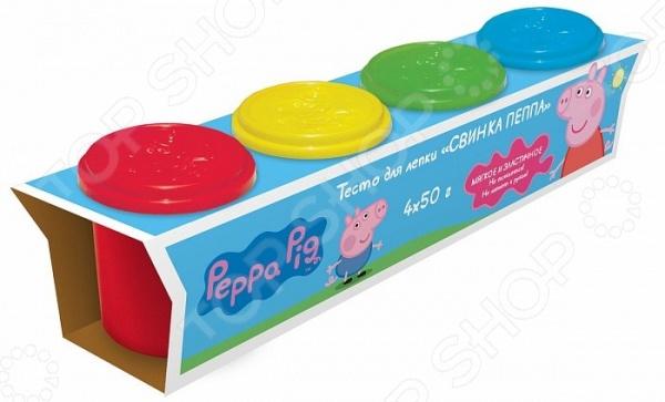 Набор теста для лепки Peppa Pig «Свинка Пеппа» 30403Лепка из песка и массы<br>Набор теста для лепки Peppa Pig Свинка Пеппа 30403 это набор пластилина для создания предметов с использованием формочек, он идеально подходит для создания разнообразных зверей. В набор входит: 4 ярких цвета теста для лепки в баночках по 50 г. Этот материал легко можно снова собрать в баночку, он легко застывает, однако его можно снова размягчить. Тесто для лепки разработано на пищевой основе и абсолютно безопасно для детей, но следите, чтобы ребенок не проглотил его.<br>