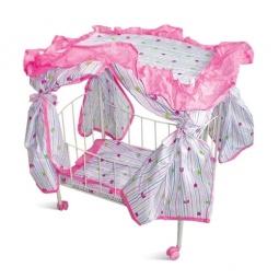 Купить Кроватка для кукол с навесом и матрасом на колесах 1 TOY Т52273