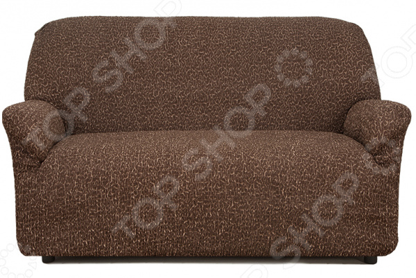 Натяжной чехол на двухместный диван «Плиссе. Мускат»Чехлы на диваны<br>Удобно, практично, стильно! Поблекшие цвета, пятна и потертая изношенная обивка как бы нам не хотелось, но со временем мягкая мебель теряет свой первоначальный вид и начинает выглядеть совсем не презентабельно. Кто-то в этом случае спешит в магазин за новой, кто-то реставрирует старую, а кто-то просто покупает мебельный чехол. Сегодня, использование подобных чехлов набирает все большую популярность и на то есть, как минимум три причины:  это удобно вам потребуется не более минуты, чтобы преобразить любимый диван или кресло;  это практично при необходимости чехлы всегда можно снять и простирнуть в машинке;  это стильно над их созданием трудятся лучшие дизайнеры и художники-декораторы.  Натяжной чехол на двухместный диван Плиссе. Мускат это отличный выбор для тех, кто хочет быстро, недорого и без особых усилий обновить свою мягкую мебель. Модель выполнена в темно-коричневой цветовой гамме. Диван с такой обивкой органично впишется в интерьер вашей комнаты, подчеркнет общее стилистическое решение и поможет грамотно расставить цветовые акценты. Особенно гармонично он будет смотреться в сочетании с белыми, бежевыми и голубыми цветами в интерьере.  Точно на заказ сшит Что примечательно, натяжной чехол еще и весьма универсален. Он подходит для любых двухместных диванов, даже при условии, что последние сделаны на заказ и имеют, отличную от традиционной, форму. Весь секрет в том, что ткань чехла прострочена тонкими эластичными нитями. Благодаря этому, он хорошо тянется, отлично держит форму, не сборит и не сползает. Обратите внимание, что если ваша мебель выполнена из экокожи или кожзама, то для крепления чехла следует приорести специальные фиксаторы в комплект не входят . То же касается и крупногабаритной мебели.  Если говорить, о составе материала, то он является смесовым и состоит из равных частей хлопка и полиэстера. Среди преимуществ ткани стоит отметить:  прочность и износостойкость;  устойчивость к 