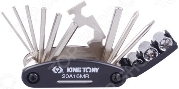Набор ремонтный для велосипедов King Tony KT-20A16MRВелоинструмент<br>Набор ремонтный для велосипедов King Tony KT-20A16MR разработан по типу швейцарского армейского ножа. Он применяется как в ремонтной мастерской, так и в быту. Этот гаджет идеально подойдет для велосипедистов любителей и профессионалов. Изделие компактно складывается и легко помещается в рюкзаке, подседельной сумке и кармане. Эргономичный корпус изготовлен из легкой и ударопрочной пластмассы, а также удобно умещается в руке. Продуманная конструкция инструмента позволяет быстро и без труда разложить любой необходимый ключ. В наборе семь первостепенных инструментов, выполненных из закаленной инструментальной стали. Все комплектующие соединены в одну конструкцию, благодаря чему исключается их случайная потеря и гарантируется полнота набора на протяжении всего срока службы. Комплект велоключей профессионально собран из качественных деталей и гарантирует долгий срок эксплуатации без поломок и заедания механизма.<br>