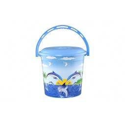 Купить Ведро с крышкой детское Violet 0210СК «Дельфин»
