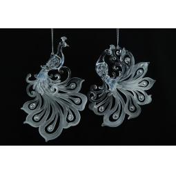 фото Елочное украшение Crystal Deco «Королевский павлин». В ассортименте. Цвет: белый, серебристый