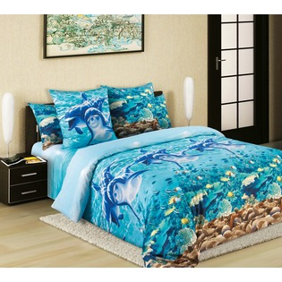 Купить Комплект постельного белья Королевское Искушение «Дельфины». 1,5-спальный