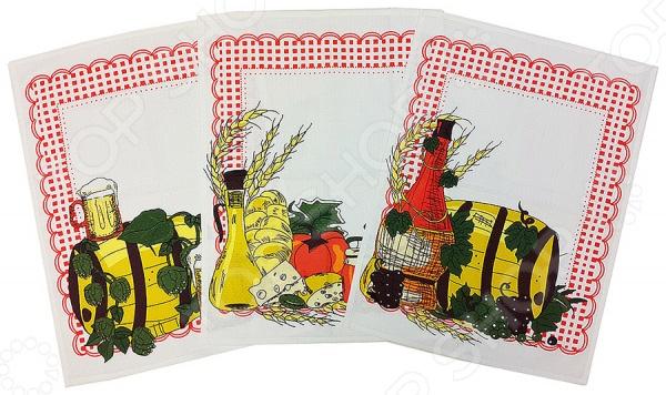 Комплект из 3-х вафельных полотенец BONITA «Натюрморт»