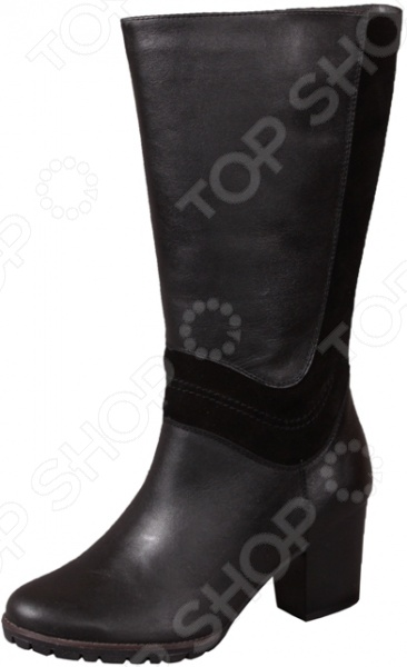 Сапоги женские «Екатерина»Сапоги<br>Сапоги женские Екатерина модная и практичная обувь, которая станет идеальным дополнением зимнего гардероба. Эти сапоги с высоким голенищем превосходно сочетаются практически со всеми фасонами модных узких брюк и джинсов. При этом в них будет тепло и комфортно в холодную погоду, ведь в процессе создания модели модельеры учли климатические особенности нашей страны.  Изготовлены из натуральной кожи и утеплены мехом, поэтому прекрасно сохраняют тепло и способствуют хорошему регулированию влаги.  Боковая часть украшена вставкой из замши.  Сделаны российскими мастерами по итальянской технологии, имеют удобную колодку и качественно прошиты. При должном уходе такая обувь прослужит не один сезон.  Устойчивая рифленая подошва из термоэластопласта. Высота сапога около 37 см, а каблука 7 см.<br>