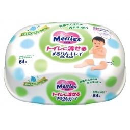 Купить Влажные салфетки детские в пластиковом контейнере Merries Flushable