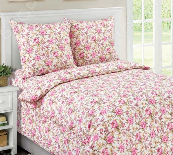 Комплект постельного белья Белиссимо «Моника». 1,5-спальный1,5-спальные<br>Комплект постельного белья Белиссимо Моника это сочетание прекрасного качества и стильного современного дизайна. Он внесет яркий акцент в интерьер вашей спальной комнаты, добавит ей элегантности и изысканности. В набор входит пододеяльник, простынь и две наволочки. Постельное белье выполнено из высококачественной бязи и украшено оригинальным цветочным принтом. Бязь представляет собой плотную хлопчатобумажную ткань полотняного переплетения. Она отлично зарекомендовала себя в пошиве постельного белья, благодаря своей воздухопроницаемости, легкости и устойчивости к истиранию. Ткани и готовые изделия производятся на современном импортном оборудовании и отвечают европейским стандартам качества. Рекомендуется стирать белье в деликатном режиме без использования агрессивных моющих средств.<br>