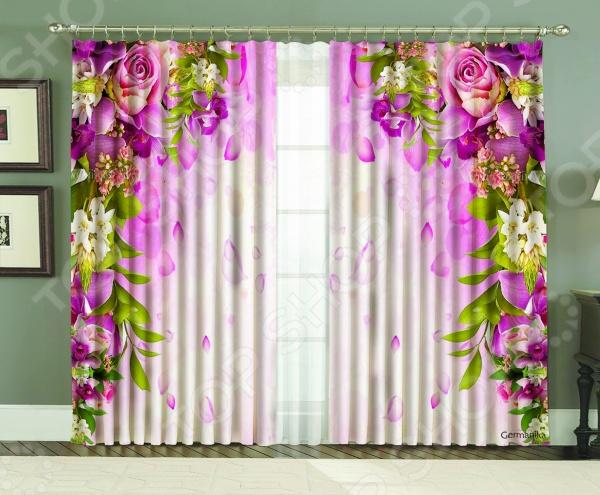 Фотошторы МарТекс «Роза германика»Фотошторы<br>Фотошторы МарТекс Роза германика стильное художественное оформление вашей спальни, гостиной или любой другой комнаты в вашем доме. Красивые, яркие и оригинальные шторы с элегантным цветочным фото-рисунком позволяют правильно расставить акценты в вашем интерьере и привнести немного комфорта, уюта. Изделия выполнены из качественного и прочного габардина материала, который отличается своей практичностью. За ним легко ухаживать, он выдерживает постоянную стирку и глажку, а яркий рисунок на таком материале не будет терять своих насыщенных красок ещё очень долго. Фотошторы из габардина обладают достаточно высокой плотностью, однако особое плетение нитей, позволяет ткани грациозно и очень эстетично ниспадать волнами с вашего карниза. С таким текстилем ваш домашний интерьер заиграет новыми красками и формами!<br>
