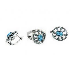 фото Серьги и кольцо JENAVI «Луара». Вставка: голубой кристалл. Размер: 19