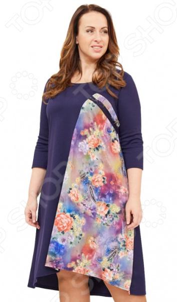 Платье Матекс «Иванна». Цвет: лиловыйПовседневные платья<br>Платье Матекс Иванна поможет вам создавать невероятные образы, всегда оставаясь женственной и утонченной. Грамотный крой и цвет скрывают недостатки фигуры и подчеркивают достоинства. В этом платье вы будете чувствовать себя блистательно как на празднике, так и на вечерней прогулке по городу.  Платье свободного кроя со вставкой с ярким цветочным узором.  Длина по спинке немного ниже передней части.  Удобные рукава 3 4.  Круглый вырез горловины подчеркнет красоту вашей шеи. Платье сшито из мягкой приятной ткани хорошо тянется , состоящей на 65 из вискозы, на 30 из полиэстера и на 5 из лайкры. Вставки выполнены из 100 полиэстера. Материал не линяет, не скатывается, формы от стирки не теряет.<br>