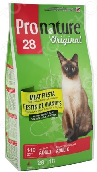 Корм сухой для кошек Pronature Original 28 Meat FiestaСухой корм<br>Корм сухой для кошек Pronature Original 28 Meat Fiesta сбалансированный рацион для ежедневного питания вашего любимца. Высокая энергетическая ценность удовлетворит потребности животного, при этом у вас не возникнет необходимости скармливать вашему питомцу большие порции. Рацион Мясная фиеста удовлетворяет все потребности взрослой кошки, богат витаминами и питательными веществами. Если вы решили перевести своего питомца на новый рацион, то делайте это постепенно в течение 7 дней. Просто кормите кошку смесью этого корма с предыдущим, со временем уменьшая количество последнего. Ваш верный друг оценит новое лакомство, ведь корм изготовлен из отборных ингредиентов и отличается превосходным вкусом. Внимание! Не забывайте о свежей воде, которая должна быть постоянно в миске вашего питомца.<br>