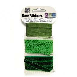 фото Набор декоративных лент We R Memory Keepers SewRibbon. Цвет: зеленый