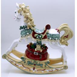 фото Музыкальная шкатулка Crystal Deco «Лошадка-качалка». Цвет: белый, красный