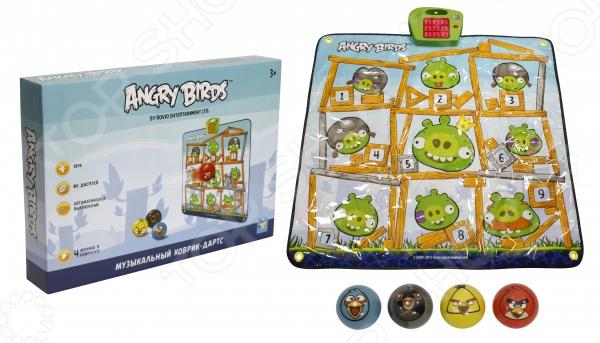 Коврик музыкальный 1 Toy Angry Birds - станет отличным подарком для вашего ребенка. Эта интересная игра понравиться не только детям, но и их родителям. Коврик выполнен в стиле Angry Birds, имеет мишени и 4 мячика. Коврик можно разместить на любой ровной горизонтальной поверхности или повесить на стену в качестве мишени. Цель игры - попасть мячиком в загорающуюся ячейку на коврике. При удачно попадании раздается мелодия или звук из популярной игры. Игра способствует развитию меткости, координации движения и ловкости. Устраивайте интересные соревнования с друзьями! Играйте и выигрывайте!