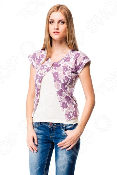 Жакет Mondigo 9782. Цвет: лиловыйЖакеты. Пиджаки<br>Жакет Mondigo 9782 представляет собой стильный элемент верхней одежды с оригинальным нежным принтом. Модель свободного кроя с коротким рукавом. Он выполнен из высококачественной ангоры, что делает его теплым, а также приятным и мягким на ощупь. Модель проста и, в то же время, оригинальна. Прекрасный повседневный вариант.<br>