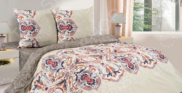 Комплект постельного белья Ecotex «Рафаила». 1,5-спальный1,5-спальные<br>Комплект постельного белья Ecotex Рафаила из высококачественного хлопка. Поплин создан на основе переплетенных хлопковых нитей различной толщины. Особая технология изготовления ткани определяет и достойные потребительские качества постельного белья: оно прекрасно впитывает влагу и дает коже дышать, создавая идеальные условия для отдыха и сна. После стирки комплект не деформируется и практически не мнется, сохраняет яркость красок и прочность швов. Данный комплект подойдет как для зимнего, так и для летнего сезона поплин отлично пропускает воздух, но при этом сохраняет тепло. Рисунок комплекта представлен изящным узором в теплых тонах, которые прекрасно впишутся в интерьер любой спальни и наполнят ее уютом. А вам подарят часы абсолютного покоя и умиротворения.<br>