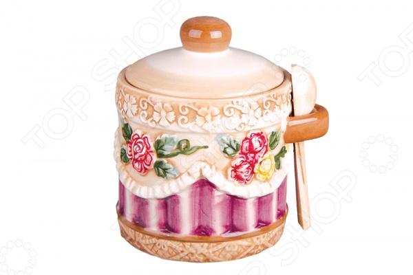 Банка для хранения с ложкой Коралл «Романтика» емкости неполимерные sestesi банка для сыпучих продуктов с крышкой овощи