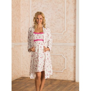 Купить Комплект: халат и сорочка для беременных Nuova Vita 115.52. Цвет: экрю