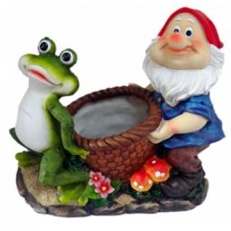 фото Кашпо декоративное Valenсia «Гном и лягушка»