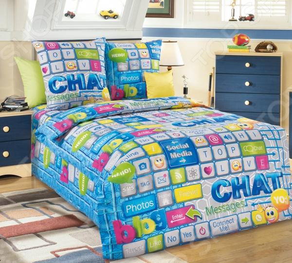 Комплект постельного белья Белиссимо «Чат». 1,5-спальный1,5-спальные<br>Комплект постельного белья Белиссимо Чат это сочетание прекрасного качества и стильного современного дизайна. Он внесет яркий акцент в интерьер вашей спальной комнаты, добавит ей элегантности и изысканности. В набор входит пододеяльник, простынь и две наволочки. Постельное белье выполнено из высококачественной бязи и украшено оригинальным принтом. Бязь представляет собой плотную хлопчатобумажную ткань полотняного переплетения. Она отлично зарекомендовала себя в пошиве постельного белья, благодаря своей воздухопроницаемости, легкости и устойчивости к истиранию. Ткани и готовые изделия производятся на современном импортном оборудовании и отвечают европейским стандартам качества. Рекомендуется стирать белье в деликатном режиме без использования агрессивных моющих средств.<br>