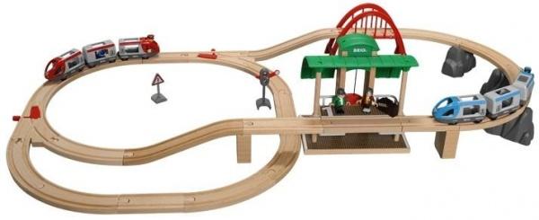 Железная дорога с вокзалом Brio 33512 погрузчик с вращением с магнитом блист brio