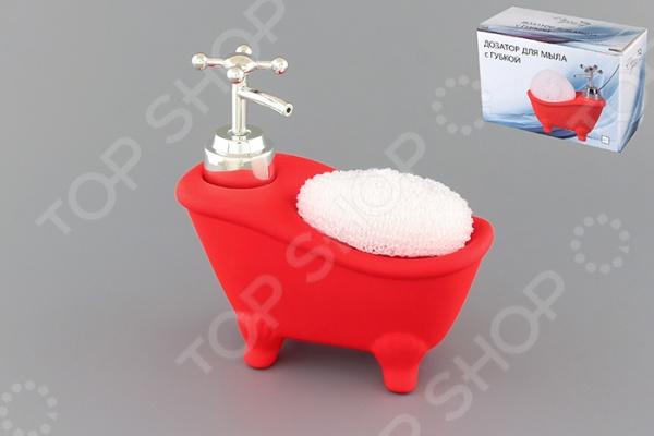 фото Диспенсер с губкой Elan Gallery «Ванна красная», Диспенсеры. Подставки для губки