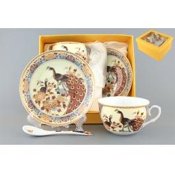 Купить Чайная пара с ложками Elan Gallery «Павлин на бежевом» 730424