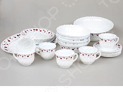Набор столовой посуды Rosenberg 1233-496Суповые тарелки<br>Набор столовой посуды Rosenberg 1233-496 функциональный набор посуды, выполненный из качественного материала. Имеет яркий яркий орнамент в красном цвете по краю блюд. В наборе находятся тарелки с ровным и волнистым краем напоминающим форму цветка. Состоит из основной функциональной посуды, которая дополнена чайным сервизом. Роскошный набор для повседневного использования. Также такой набор прекрасно дополнит праздничную сервировку стола и порадует своей практичностью и свежестью дизайна. Оригинальный набор станет практичным и полезным подарком для близкого человека.<br>