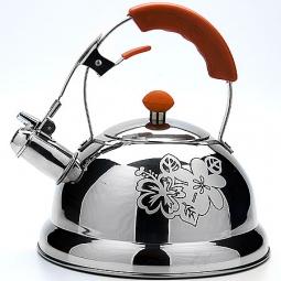 фото Чайник со свистком Mayer&Boch Thermo Print. Цвет: оранжевый, серебристый