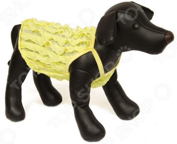 Топ для собак DEZZIE «Лесси»Одежда для собак<br>Топ для собак DEZZIE Лесси на бретельках прекрасный выбор для вашего любимого питомца. Модель отличается стильным современным дизайном и великолепным качеством пошива. Кофточка выполнена в светло-желтой цветовой гамме из натурального хлопка, отлично зарекомендовавшего себя в пошиве одежды для животных, благодаря воздухопроницаемости, мягкости и устойчивости к истиранию. Топ украшен рюшами.<br>