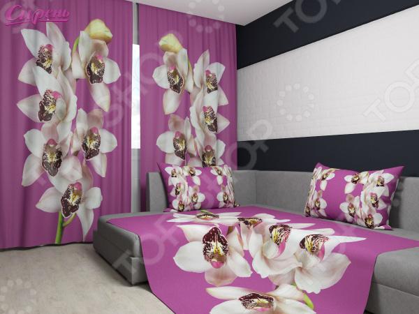 Комплект: фотошторы и покрывало Сирень «Гармония цветка орхидеи»Фотошторы<br>Комплект: фотошторы и покрывало Сирень Гармония цветка орхидеи это удивительной красоты декоративный и функциональный элемент каждой спальни или гостиной. Чем качественней эти изделия, тем более комфортным и уютным становится само помещение. Современные технологии позволяют создавать новые, улучшенные ткани и долговечные насыщенные краски, которые внесут в интерьер желанную атмосферу. Правильно подобранный, элемент декора придаст комнате мягкое солнечное настроение или создаст успокаивающую тихую гавань. Стиль комнаты будет зависеть от текстуры полотна и оттенков цветов, которые нужно грамотно и индивидуально подбирать под каждое помещение. Оцените достоинства комплекта Сирень Гармония цветка орхидеи :  Оригинальный дизайн придаст ощущение покоя и отдыха на свежем воздухе, а также внесет сочные нотки в интерьер.  Фотошторы и покрывало дополнены изящным рисунком, который выполнен по технологии 3D. Яркие контрастные изображения будто сошли с полотна талантливого художника.  Комплект выполнен из прочного и износостойкого габардина, который хорошо пропускает свет и очень приятен на ощупь.  Фотошторы легко крепятся на карниз с помощью ленты. В данном комплекте вы найдете:  Две фотошторы, размер каждой из которых составляет 145х180 см.  Покрывало размером 145х220 см. Ухаживать за шторами и покрывалом очень просто, так как краски износостойкие и не выгорают на солнце. Также, ткань не выцветает даже после многократных стирок, сохраняя насыщенные оттенки. Стирать изделия рекомендуется при температуре 30 С, а гладить при 150 С. С комплектом Сирень Акварельные маки , вы сможете придать своей комнате нежный цветочный стиль.<br>