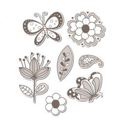 фото Форма-трафарет для вырубки и штамп Sizzix Framelits Die Цветочки и бабочки и Stamp