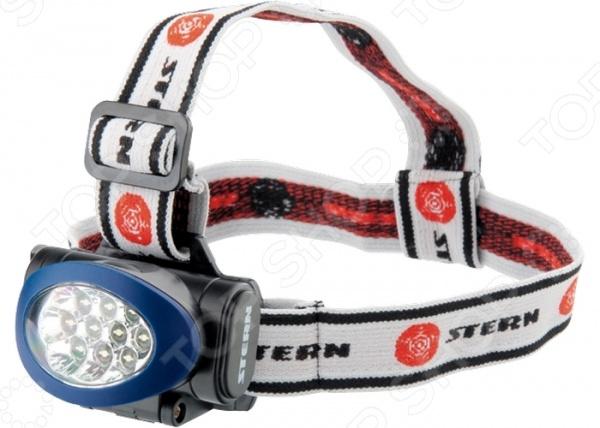 Фонарь налобный Stern 90562Туристические фонари<br>Фонарь налобный Stern 90562 это отличное решение для мест, где имеются проблемы с источниками света. Оснащенную 10 яркими светодиодами модель, можно использовать в домашнем хозяйстве, в дороге, при ремонтных работах автомобиля или на производстве. Несмотря на небольшие размеры, фонарь обладает мощным световым потоком, а 3 режима яркости позволяют сэкономить заряд элементов питания 3 батарейки ААА-типа . Для наилучшей фиксации на голове, ремешок имеет три полудуги и возможность регулировки обхвата.<br>