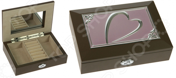 Шкатулка ювелирная Moretto 39942Шкатулки<br>Шкатулка ювелирная Moretto 39942 просто создана для хранения ювелирных изделий, бижутерии и прочих небольших аксессуаров. Ведь очень удобно, когда все ценные украшения лежат в одной красивой шкатулке. На внутренней стороне крышки предусмотрено компактное зеркальце, которое может пригодиться в процессе примерки и надевания украшений. Благодаря утонченному дизайну такая шкатулка станет ярким акцентом любого интерьера и отлично подойдет в качестве сувенирного подарка дорогому человеку. Шкатулка выполнена из качественных материалов и не требует особого ухода, достаточно регулярно удалять пыль сухой мягкой тканью.<br>