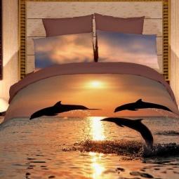 фото Комплект постельного белья Domomania Delfini. Satin Fotoprint. 2-спальный