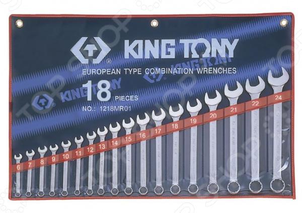 Набор ключей комбинированных King Tony KT-1218MR01Комбинированные ключи<br>Комбинированные ключи представляют собой слесарные инструменты, используемые для ручного завинчивания и отвинчивания крепежных деталей. Они достаточно функциональны и находят применение в различных, как промышленных, так и бытовых областях. Продуманная конструкция и высокопрочные материалы Набор ключей комбинированных King Tony KT-1218MR01 станет отличным дополнением к набору слесарных инструментов и пригодится при выполнении монтажных и демонтажных работ у вас дома, в гараже и на даче. Помимо этого, такой комплект также будет не лишним и на станциях техобслуживания, в производственных цехах и автослесарных мастерских. Ключи выполнены из легированной хромованадиевой стали. Данный металл отвечает всем требованиям стандартов и обеспечивает высокую надежность и износоустойчивость инструментов. Для обеспечения дополнительной прочности, ключи производятся методом горячей ковки с последующей термообработкой.  Среди особенностей предлагаемого набора стоит отметить:  Изгиб рожковой и накидной части ключей на 15 градусов обеспечивает удобство использования даже в местах с ограниченным доступом к крепежу.  Накидная часть инструментов имеет 12-гранный профиль, позволяющий работать с головками болтов и гаек как 6-ти, так и 12-гранного профиля.  Всегда под рукой Для удобства использования и быстрого доступа к инструментам, ключи упакованы в специальный чехол. Он выполнен из прозрачного винила и снабжен 18-ю отделениями с маркировкой размера ключа. Помимо прочего, по бокам чехла предусмотрены специальные проушины для крепления к рабочему стенду или к верстаку.<br>