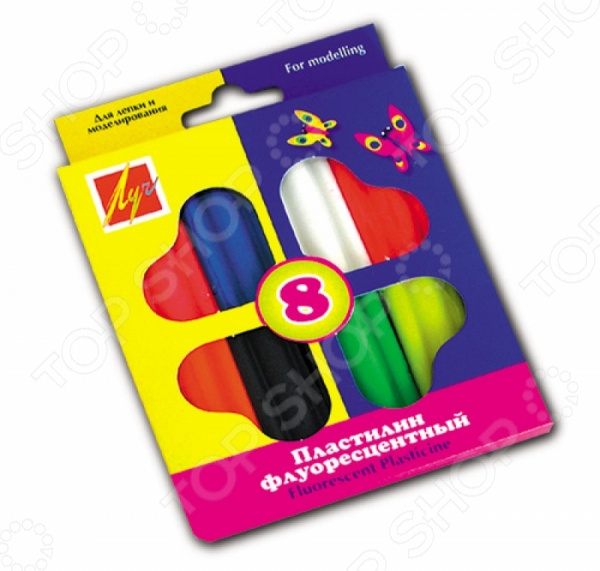 Набор пластилина Луч «Флуоресцентный»: 8 цветовЛепка из пластилина<br>Набор пластилина Луч Флуоресцентный превосходный подарок детям от трех лет. С этим замечательным набором процесс лепки превратится не просто в увлекательную игру, а в серьезное исследование. Ребенок сможет придумывать и создавать различные объекты самостоятельно или же с помощью взрослых. Занятия лепкой крайне полезны, поскольку направлены на развитие мелкой моторики рук и формирование творческого мышления. Изготовлено из безопасных нетоксичных материалов. В наборе 8 цветов.<br>