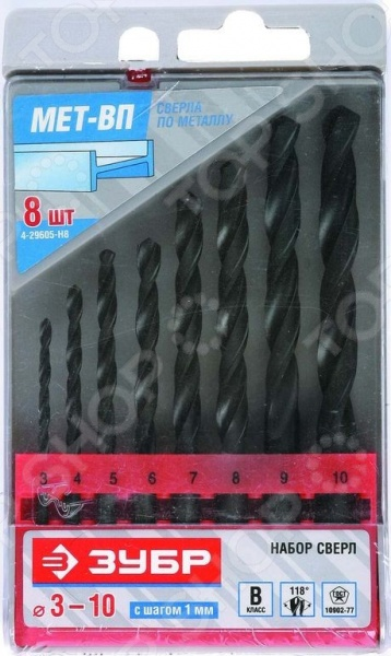 Набор сверл по металлу Зубр «Техник» 4-29605-H8 набор метчиков зубр 4 28007 05 0 8 h2